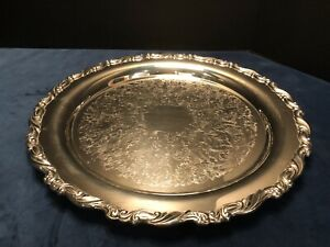 Vintage Oneida 15 Silver Plate Round Serving Tray Intricate Pattern Be