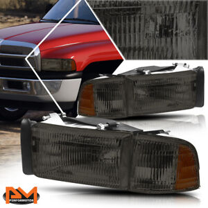 For 94 02 Dodge Ram 1500 3500 Direct Replace Headlight Lamp Amber Corner Smoked