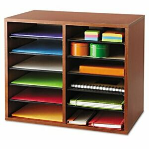 Safco Products 9420cy Wood Adjustable Literature Organizer 12 Compartment Cherry
