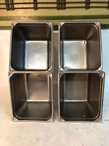 4 Lot Vollrath 3028 8 Stainless Steel 10 Quart Restaurant Container Commercial