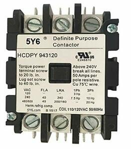 50 Amp Definite Purpose Contactor 3 Pole 120vac Coil 40a 50a Lighting Heating