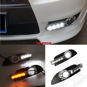 Led Drl Turn Indicator Daytime Running Fog Lights For Mitsubishi Lancer 2007 12