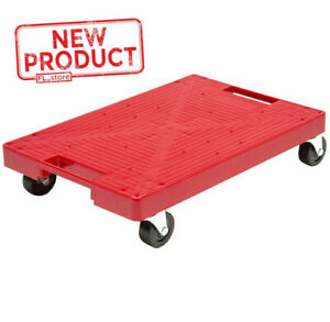 Multi Purpose Garage Dolly Furniture Moving Flat Plastic Rolling Caddie Cart Red