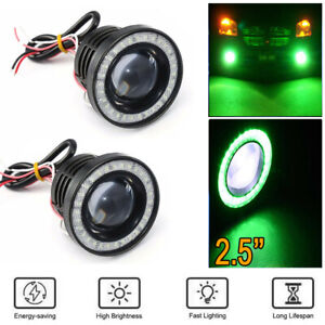 2x 2 5 Inch Car Projector Led Fog Light Cob Halo Angel Eye Ring Bulb Green