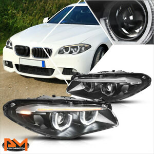 For 11 13 Bmw F10 Led U Halo Sequential Turn Signal Projector Headlights Black