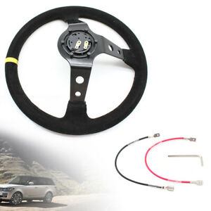 350mm Deep Dish 6 Bolt Suede Leather Sport Racing Drifting Steering Wheel