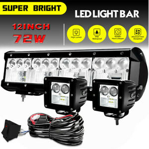 12 Tri Row Cree Led Work Light Bar 1620w Flood Spot Combo Offroad Driving Lamp