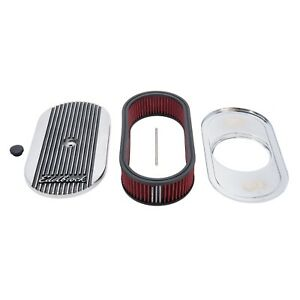 Edelbrock Air Cleaner For Elite Ii Oval Single 4 Bbl Carb 2 5in Red Element Poli
