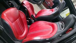 12 17 Fiat 500 Abarth Leather Seat Set nero rosso Czf Oem