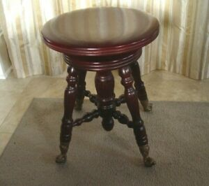 Vintage Wooden Adjustable Piano Stool Claw Foot