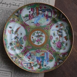 Antique Chinese Canton Rose Medallion Dish With Melon Reserves Famille Rose 308
