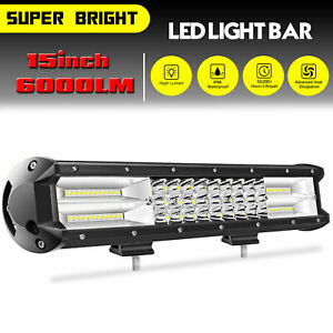 15inch 180w Led Work Light Bar Combo Driving Offroad Boat Atv Truck 7d Tri Row