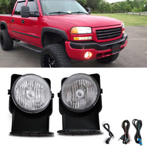 Clear Bumper Mounted Fog Lights wiring switch bulbs Kit For 2005 Gmc Sierra 1500