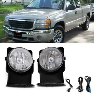 Clear Bumper Mounted Fog Lights wiring switch bulbs Kit For 2006 Gmc Sierra 1500