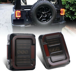 Led Tail Lights Smoke Reverse Brake Turn Signal Lamps For Jeep Wrangler Jk 07 17