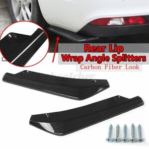 For Subaru Wrx Sti Rear Bumper Lip Splitter Diffuser Canards Carbon Fiber Look