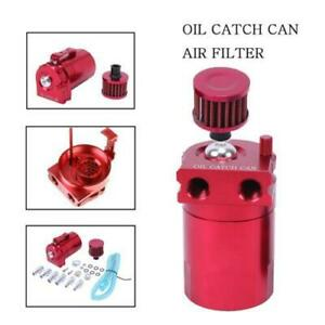 Aluminum Engine Oil Catch Reservoir Breather Tank Can W Filter Red