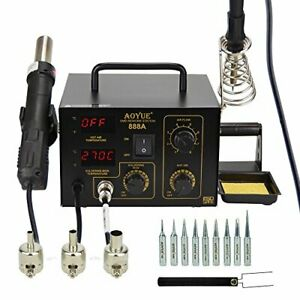 888a 2 In 1 Digital Hot Air Rework And Soldering Station Black