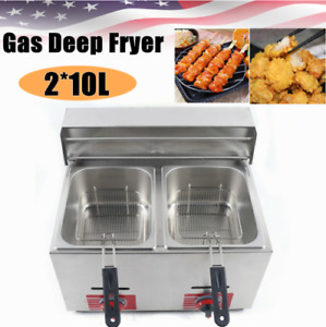 Commercial Countertop Gas Fryer Deep Fryer Restaurant Stainless Fried 2 Basket