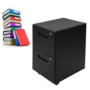 File Cabinet 2 Drawer Mobile With Lock Casters Legal Letter Storage Office Black