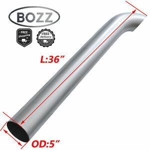 5 Inch Od X 36 Aluminized Exhaust Stack Curved Pipe 36 Overall Length Tube