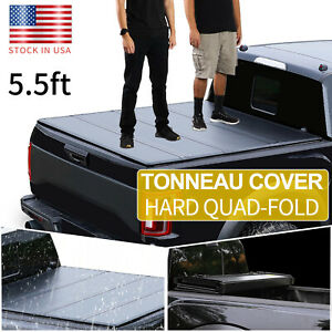 For 2004 2014 Ford F 150 Truck 5 5ft Bed Short Hard Quad fold Tonneau Cover