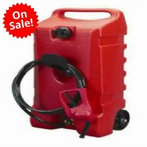 Wheeled Fuel Gas Container Hand Pump Transfer 14 Gal Long Fuel Hose Heavy Duty