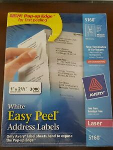 Avery 5160 Easy Peel White Address 3000 Labels 1 X 2 5 8 100 Sheets Laser New