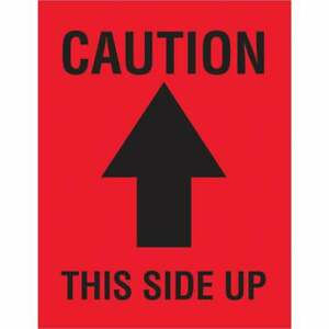 Tape Logic Labels caution This Side Up Arrow 4 X 3 Red black 500 roll