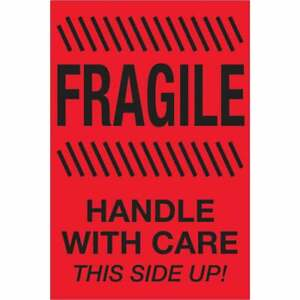Tape Logic Labels fragile Handle With Care This Side Up 4 X 6 Fluores