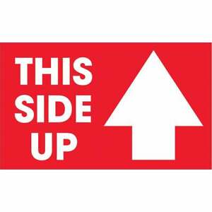 Tape Logic Labels this Side Up Arrow 3 X 5 Red white 500 roll