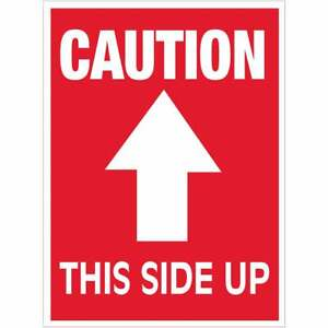 Tape Logic Labels caution This Side Up Arrow 3 X 4 Red white 500 roll