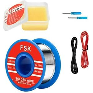 Solder Wire And Rosin Paste Kit 0 6mm 60 40 Tin Lead Flux For Electronics Diy
