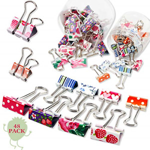 48 Pieces Colorful Binder Clips Paper Clamps 2 Sizes Cute Printing Metal Fold 1