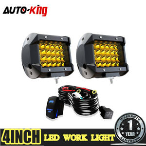 2x 4 200w Amber Led Fog Work Light Bar Pod Spot Flood Combo Driving Offroad Atv