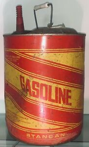 Vtg Retro Round Metal Stancan Standard Container Co 5 Gallon Gasoline Gas Can