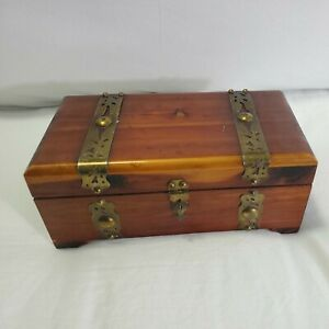 Vintage Wooden Chest Jewelry Trinket Box With Metal Bands