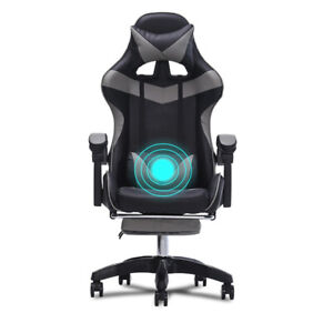 Gaming Chair Office Racing Style Leather Computer Swivel Desk Massage Green Seat