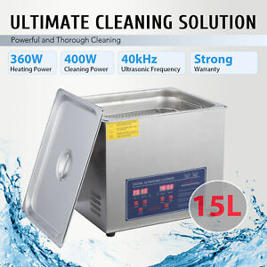 15l Ultrasonic Cleaner Cleaning Equipment Liter Industry Heated W Timer Digital