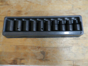 Snap on 310immya 1 2 Drive 10 Piece 10 19mm Impact Socket Set