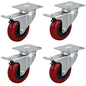 Powertec 17205 3 inch Swivel Double Lock Polyurethane Plate Casters Red 4 pack
