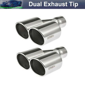 2x Dual Exhaust Tip Angle Cut 2 5 Inlet 3 5 Outlet 10 Long Stainless Steel