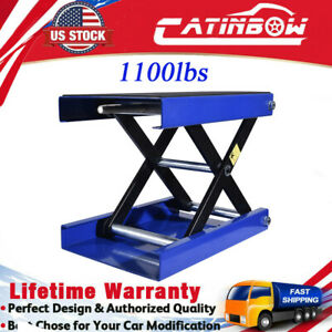 1100lbs 9 Wide Deck Scissor Lift Jack Motorcycle Center Hoist Stand Scooter