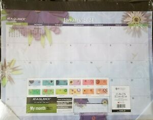 2021 At a glance Paper Flowers Monthly Desk Pad 21 3 4 x17 5035 21 Free Ship