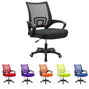 Mid Back Mesh Office Chair Ergonomic Swivel Computer Task Chairs W Support Arm