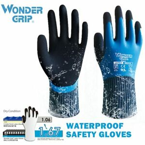 2 Pairs Wondergrip Safety Work Gloves Double Latex Waterproof Cold proof Gloves