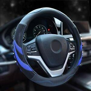 New Black Blue Car Microfiber Leather Steering Wheel Cover Hand Pad Large Size