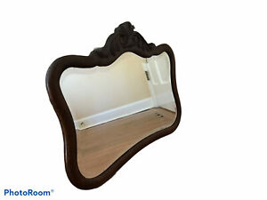 Vintage Solid Oak Victorian Carved Wall Mirror