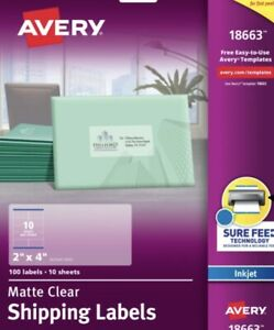 Avery 18663 Frosted Clear Mailing Labels Inkjet 2 X 4