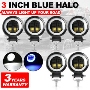 6pcs Led Fog Lights Blue Halo Spot Led Work Light 3inch For Jeep Suv Truck Atv